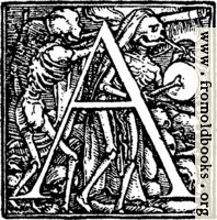 "62a.—Initial capital letter ""A"" from Dance of Death Alphabet"