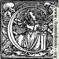 """62g.—Initial capital letter """"G"""" from Dance of Death Alphabet."""