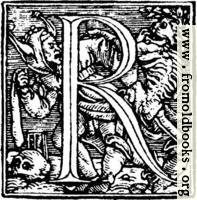 "62r.—Initial capital letter ""R"" from Dance of Death Alphabet."