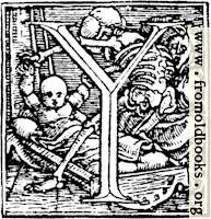 """62y.—Initial capital letter """"Y"""" from Dance of Death Alphabet."""