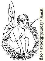 Winged fairy boy sitting in wreath