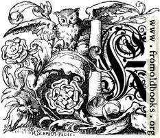 "Decorative initial ""K"" on scroll with owl and roses"