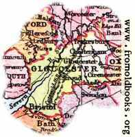 Overview map of Gloucestershire, England