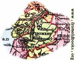 Overview map of Montgomery, Wales