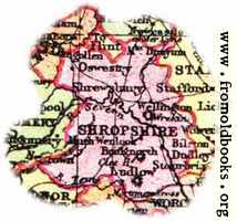 Overview map of Shropshire, England