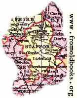 Overview map of Staffordshire, England