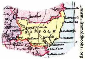 Overview map of Suffolk, England