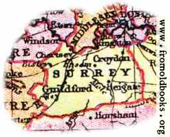 Overview map of Surrey, England