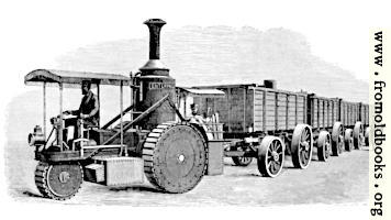 Thomson's Road-Steamer and Coal-Waggons