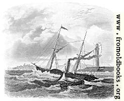 Paddle steamer on stormy seas