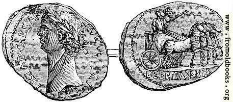 119.—Coin of Claudius, representing his British triumph.  From the British Museum.