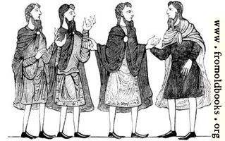 285.—Saxon Cloaks, Plain and Embroidered Tunics, and Shoes. (Cotton MS.)