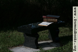 Stone bench with books 1