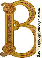 Anglo-Saxon decorative initial B in the Celtic knotwork style