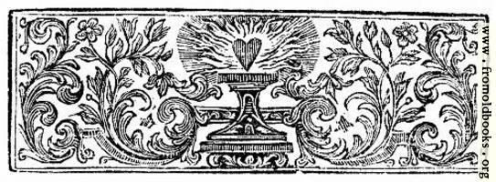 Chapter Heading woodcut featuring a flaming heart
