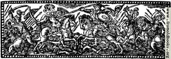 Chapter Heading Woodcut Featuring Soldiers on Horesback with Spears