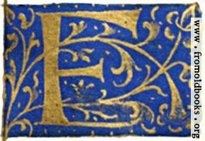 "Letter ""F"" from 16th century book of hours"