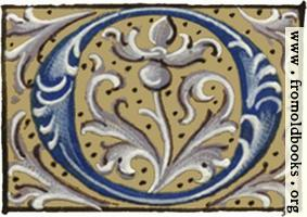 "Letter ""O"" from 16th century book of hours"