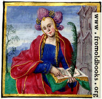 Miniature painting of a woman reading a music book