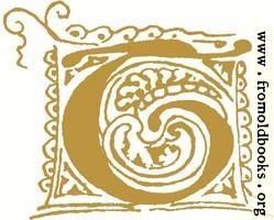 Calligraphic initial leter T