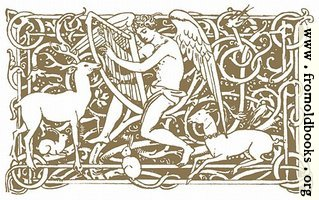 Angel playing the harp, attended by deer