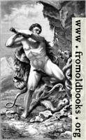 Herkules in Kampfe gegen die lernäische Schlange.