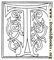clipart: initial letter T from late 15th century printed book