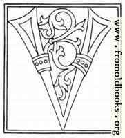 clipart: initial letter V from late 15th century printed book
