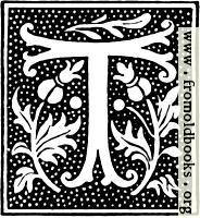 clipart: initial letter T from beginning of the 16th Century