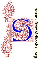 Decorative uncial initial letter S from fifteenth Century Nos. 4 and 5.