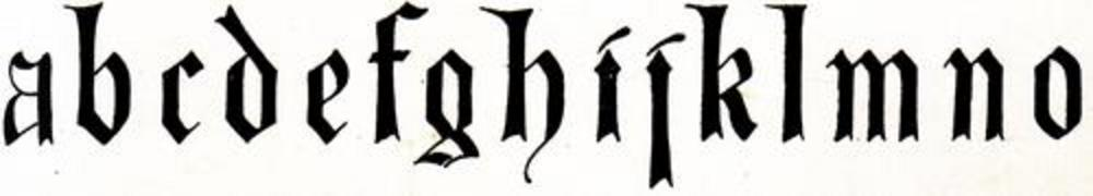 Top row of miniscule (lower-case) blackletter from XIV. Century  No. 1.