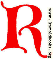 Clip-art: calligraphic decorative initial capital letter R from XIV. Century  No. 1