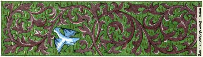 Green and brown border with vines and bird