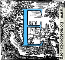 Historiated decorative initial capital letter E in Blue