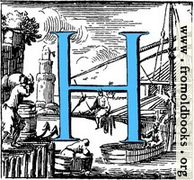 Historiated decorative initial capital letter H in Blue