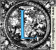 Historiated decorative initial capital letter L in Blue