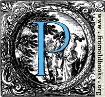 Historiated decorative initial capital letter P in Blue
