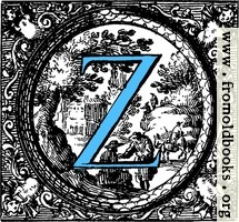 Historiated decorative initial capital letter Z in Blue