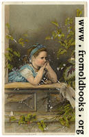 Girl in the window: Atlantic and Pascific Tea Company 1880s Trade Card