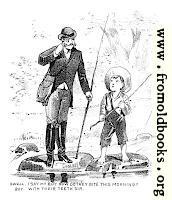 Cartoon: barefoot boy fishing