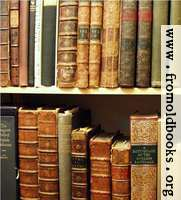 Pictures of old books: Two shelves of antiquarian books