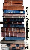 Stack of old books, light background